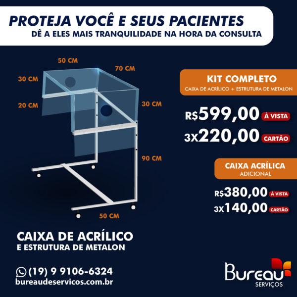 Preços e medidas da caixa de acrílico com estrutura em metalon para proteção contra o coronavírus no setor clinico