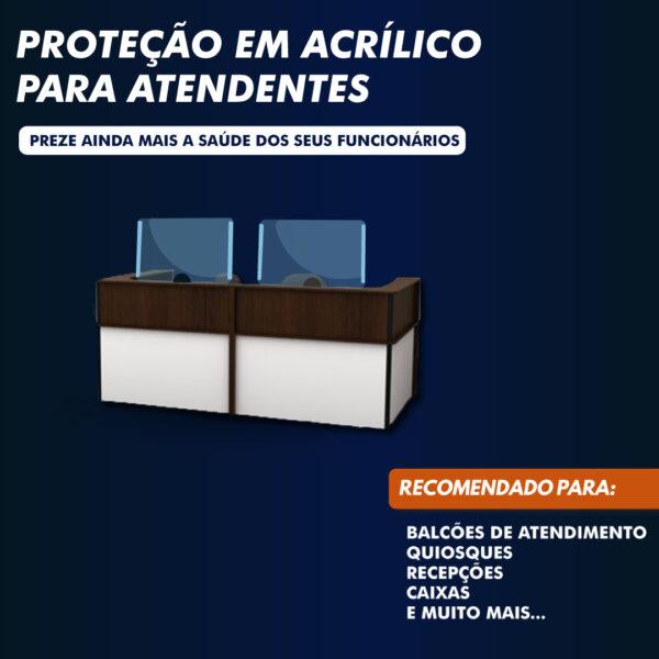 Placa de acrílico para proteção no setor de atendimento ao público (recepção), bureau acrílicos